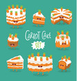 set of funny carrot pies graphics vector image