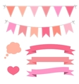 Set of pink flat buntings garlands ribbons and vector image