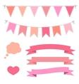 set pink flat buntings garlands ribbons and vector image