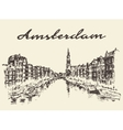 Streets Amsterdam drawn sketch vector image