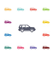 suv flat icons set vector image