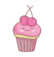sweet cupcake cherry fruits menu restaurant vector image