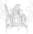 terrible witch cooks potion vector image