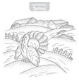 turkey hand-drawn vector image vector image