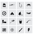 black hunting icons set vector image