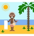 Vacation of retired man on the beach under the sun vector image
