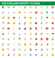 100 philanthropy icons set cartoon style vector image vector image