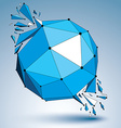 Abstract 3d faceted blue figure with connected vector image vector image