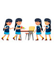 asian girl kid set primary school child vector image vector image