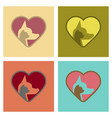 assembly flat icons cat dog heart vector image vector image