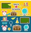 Back to school icon set Green board bell alarm vector image vector image