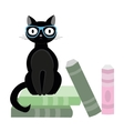 Black cat with glasses and books vector image vector image