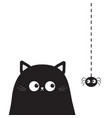 Black cute sitting cat kitten face head looking on vector image