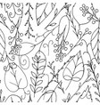 black doodle leaves and berries seamless pattern vector image vector image