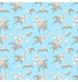 Blue seamless pattern with floral ornament vector image