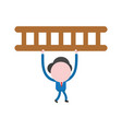 businessman character walking and carrying wooden vector image