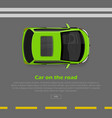 car on road conceptual flat web banner vector image vector image