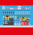 cashier counter workplace supermarket interior vector image vector image