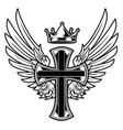 christian cross wing crown drawing vector image