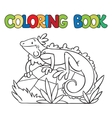 Coloring book of little iguana vector image vector image