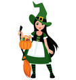 cute girl in halloween witch costume in full lengt vector image