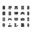 device black silhouette icons set vector image vector image