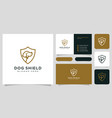 dog shield hipster vintage logo and business card vector image vector image