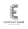 e letter logo design piano keyboard logo vector image vector image