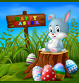 easter bunny and eggs in garden vector image vector image