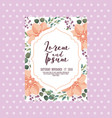 elegant wedding card flowers ornate decoration vector image vector image