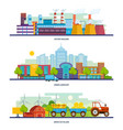 factory building lurban landscape transport vector image vector image