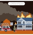Fireman and a house2 vector image vector image