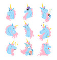 funny unicorn characters with different emotions vector image vector image