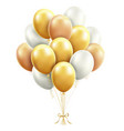 gold and white balloons with ribbon vector image vector image