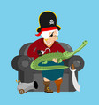 grandmother pirate old buccaneer and crocodile vector image vector image