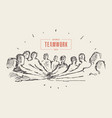 group people hand teamwork friendship drawn vector image vector image