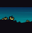 halloween pumpkin on the hill landscape vector image vector image