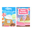 happy birthday cards sweet candy cake lollipops vector image