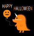 happy halloween orange silhouette monster with vector image
