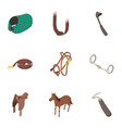 harness icons set isometric style vector image vector image