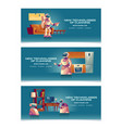 house cleaning robots realistic website set vector image