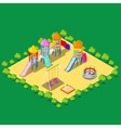 Isometric Children Playground with Sweengs vector image
