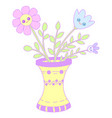 kawaii vase with flowers imagegraphic design vector image
