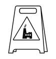 line plastic caution emblem factory pollution vector image vector image