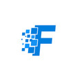 logo letter f blue blocks cubes vector image