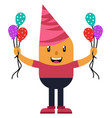 man with balloons on white background vector image vector image