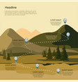 mountain landscape with fir forest tourism route vector image vector image