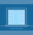 open window line concept blue room logo vector image