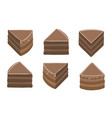 pieces chocolate cake brown cream topping vector image vector image