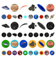 planets of the solar system cartoon icons in set vector image vector image